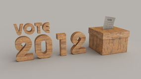 Elections 2012 vote box. Elections 2012 grey background logo and box made from wood Stock Photo