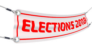 Elections 2018. Advertising banner. Advertising banner with inscriptions `ELECTIONS 2018`. Isolated. 3D Illustration royalty free illustration