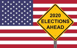 2020 Elections Ahead Caution Sign. 2020 Elections Ahead - Caution Sign Flag Background stock illustration