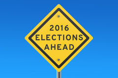 Elections 2016 ahead road sign. On blue sky royalty free illustration