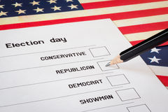 Elections ballot. With USA flag background. Selection of a candidate from the Republicans Royalty Free Stock Photography