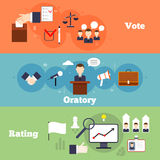 Elections banner set. Elections and voting flat banner set with oratory rating isolate vector illustration royalty free illustration