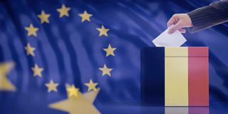 Hand inserting an envelope in a Belgium flag ballot box on European Union flag background. 3d illustration. Elections in Belgium for EU parliament. Hand royalty free stock image