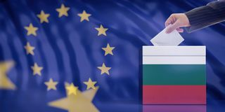 Hand inserting an envelope in a Bulgaria flag ballot box on European Union flag background. 3d illustration. Elections in Bulgaria for EU parliament. Hand stock photography