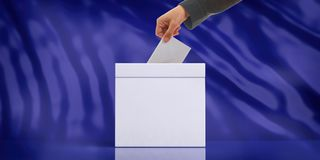 Hand inserting an envelope in a white blank ballot box on blue abstract background, copy space. 3d illustration royalty free illustration