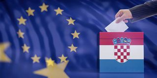 Hand inserting an envelope in a Croatia flag ballot box on European Union flag background. 3d illustration. Elections in Croatia for EU parliament. Hand royalty free stock images