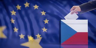 Hand inserting an envelope in a Czech Republic flag ballot box on European Union flag background. 3d illustration. Elections in Czech Republic for EU parliament royalty free stock photography
