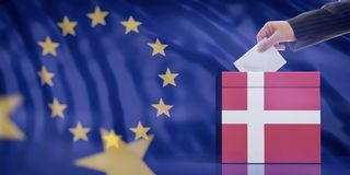 Hand inserting an envelope in a Denmark flag ballot box on European Union flag background. 3d illustration. Elections in Denmark for EU parliament. Hand royalty free stock image