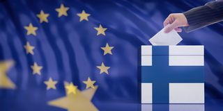 Hand inserting an envelope in a Finland flag ballot box on European Union flag background. 3d illustration. Elections in Finland for EU parliament. Hand stock image