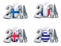 Elections in France, Britain, Greece, Finland. 2014 on a white background Royalty Free Stock Image