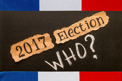Elections in France. Election 2017, inscription on torn paper sh Royalty Free Stock Images