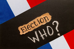 Elections in France.  Election inscription on torn paper sheet Stock Photos
