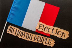 Elections in France.  Election inscription on torn paper sheet Stock Image