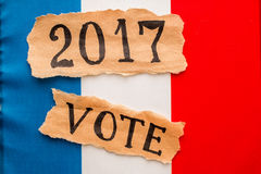 Elections in France.  Vote, 2017, inscription on torn paper shee Stock Photos