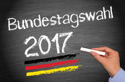 Elections in Germany 2017. Female hand with chalk writing on blackboard, german text stock photos