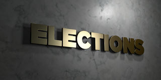 Elections - Gold sign mounted on glossy marble wall  - 3D rendered royalty free stock illustration. This image can be used for an online website banner ad or a Royalty Free Stock Photo