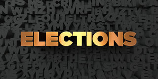 Elections - Gold text on black background - 3D rendered royalty free stock picture. This image can be used for an online website banner ad or a print postcard vector illustration