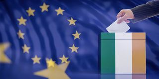 Hand inserting an envelope in a Ireland flag ballot box on European Union flag background. 3d illustration. Elections in Ireland for EU parliament. Hand royalty free stock image
