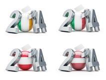 Elections in Italy, Austria, Latvia, Ireland 2014. On a white background Stock Photo