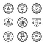 Elections labels set stock illustration