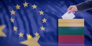 Hand inserting an envelope in a Lithuania flag ballot box on European Union flag background. 3d illustration royalty free illustration