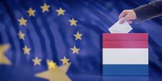 Hand inserting an envelope in a Netherlands flag ballot box on European Union flag background. 3d illustration stock illustration