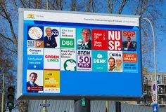 Elections in the Netherlands, march 2019. The Hague, the Netherlands. March 2019. Billboard with candidates and political parties for the provincial council stock image