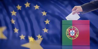 Hand inserting an envelope in a Portugal flag ballot box on European Union flag background. 3d illustration stock illustration