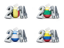 Elections in Romania, El Salvador, Colombia. Lithuania  2014 on a white background Stock Photos