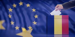 Hand inserting an envelope in a Romania flag ballot box on European Union flag background. 3d illustration. Elections in Romania for EU parliament. Hand vector illustration