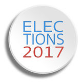 Elections 2017 in round white button with shadow Royalty Free Stock Photography