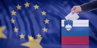 Hand inserting an envelope in a Slovenia flag ballot box on European Union flag background. 3d illustration. Elections in Slovenia for EU parliament. Hand royalty free illustration