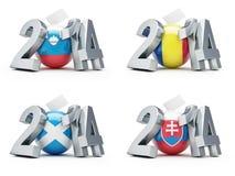 Elections in Slovenia, Romania, Scotland, Slovakia. 2014 on a white background Royalty Free Stock Photo