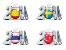 Elections in Sweden, Spain, Thailand, Turkey 2014. On a white background Royalty Free Stock Photo