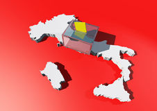 Elections and Urn with a 3d map of Italy. On a red background stock illustration