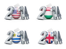 Elections in USA, Hungary, Uruguay, Britain 2014. On a white background Stock Photos