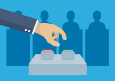 Elections voting concept. Elections voting, politics and elections illustration, hand pressing button stock illustration