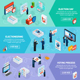 Elections And Voting Isometric Banners. Elections and voting isometric horizontal banners with electioneering election day and voting process icons set flat royalty free illustration