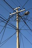 Electirc pole. An electric pole with blue sky background Stock Photos