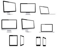 Electronic devices. Combilation of 5 electronic devices in different perspectives stock illustration