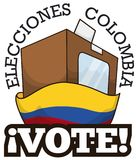 Electoral Box with Vote and Flag for Colombian Elections Event, Vector Illustration. Voting urn with a electoral card behind Colombian flag for elections in this Royalty Free Stock Images