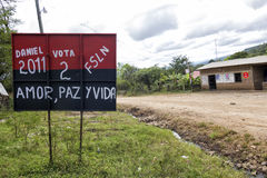Electoral campaign in Nicaragua. Electoral propaganda painted on a street sign in Nicaragua stock photo
