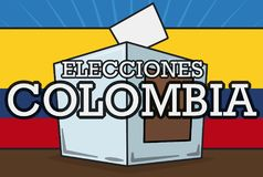 Electoral Card and Box Promoting to Vote in Colombian Elections, Vector Illustration. Promotional poster in flat style and long shadow for Colombian elections Royalty Free Stock Photos