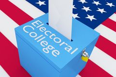 Electoral College concept. 3D illustration of Electoral College script on a ballot box, with US flag as a background Stock Images