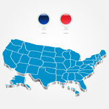 The electoral districts pined on 3d USA map Royalty Free Stock Photo
