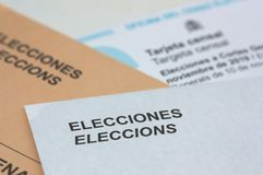 Free Electoral Envelopes And The Card Sent By The Electoral Census Office For The Elections To Courts In Spain Royalty Free Stock Photos - 162532818
