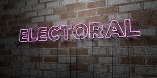 ELECTORAL - Glowing Neon Sign on stonework wall - 3D rendered royalty free stock illustration. Can be used for online banner ads and direct mailers Stock Images