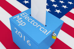 Electoral Map concept. 3D illustration of Electoral Map, 2016 scripts and on ballot box, with US flag as a background stock illustration