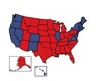 Electoral Map of United States. General electoral map of 50 United States colored in Republican Red, Democrat Blue for the general Presidential election fully Stock Image