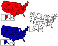 Electoral Maps. 50 United States colored in Republican Red, Democrat Blue and displaying the number of electoral votes for the general Presidential election Royalty Free Stock Image
